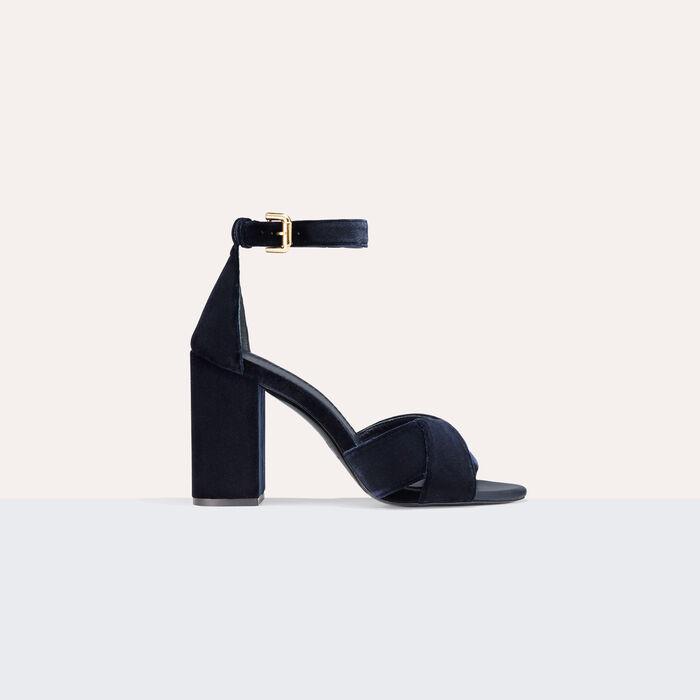 Sandales à talons en veau velours : Chaussures couleur BLEU NUIT