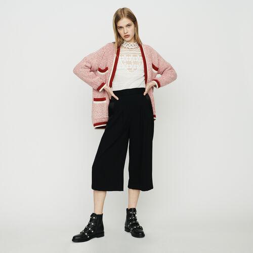 Cardigan mi-long en maille bicolore : Pulls & Cardigans couleur Rouge