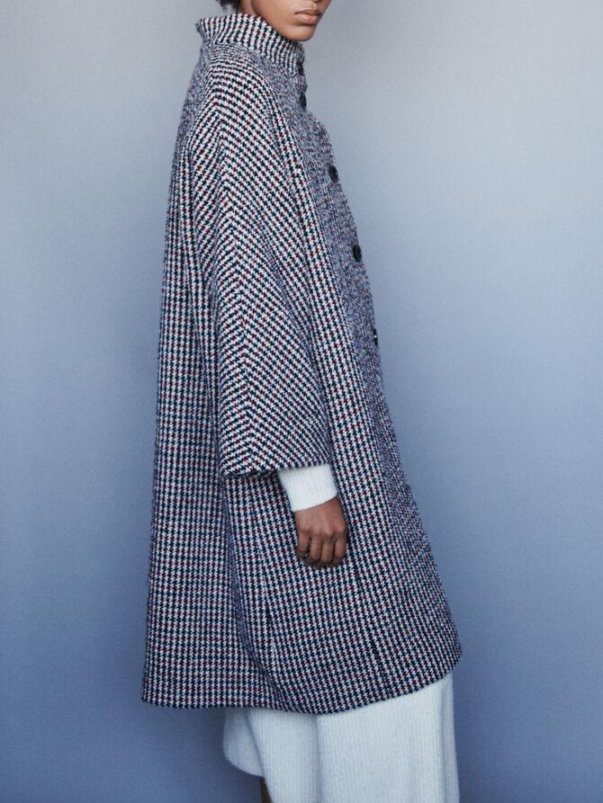 Manteau long en laine pied-de-poule - Manteaux & Blousons - MAJE