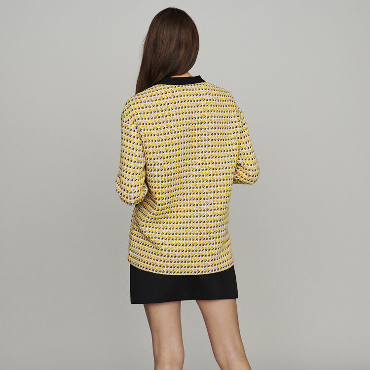 Veste en tweed et lurex : Vestes couleur Jaune