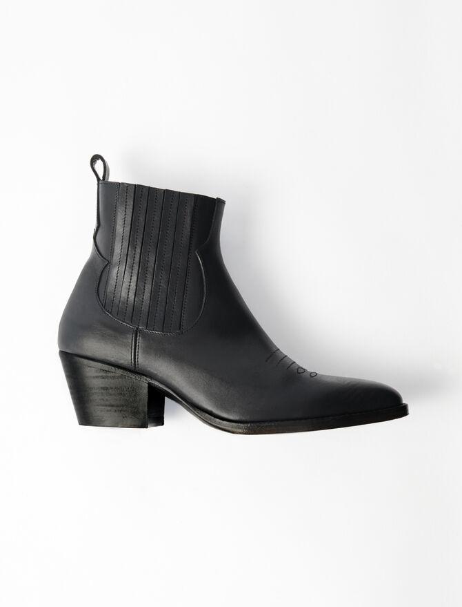 Bottines en cuir à découpes western - Toutes les chaussures - MAJE