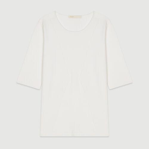 Pull à manches courtes en maille : Maille couleur Blanc