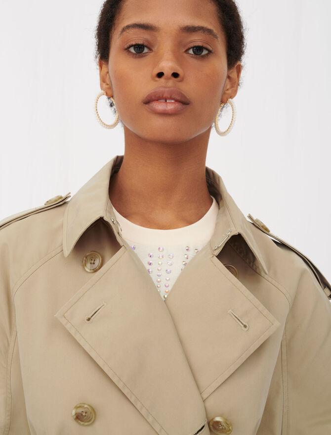 Trench coat ceinturé et patchs de cuir - Vestes - MAJE