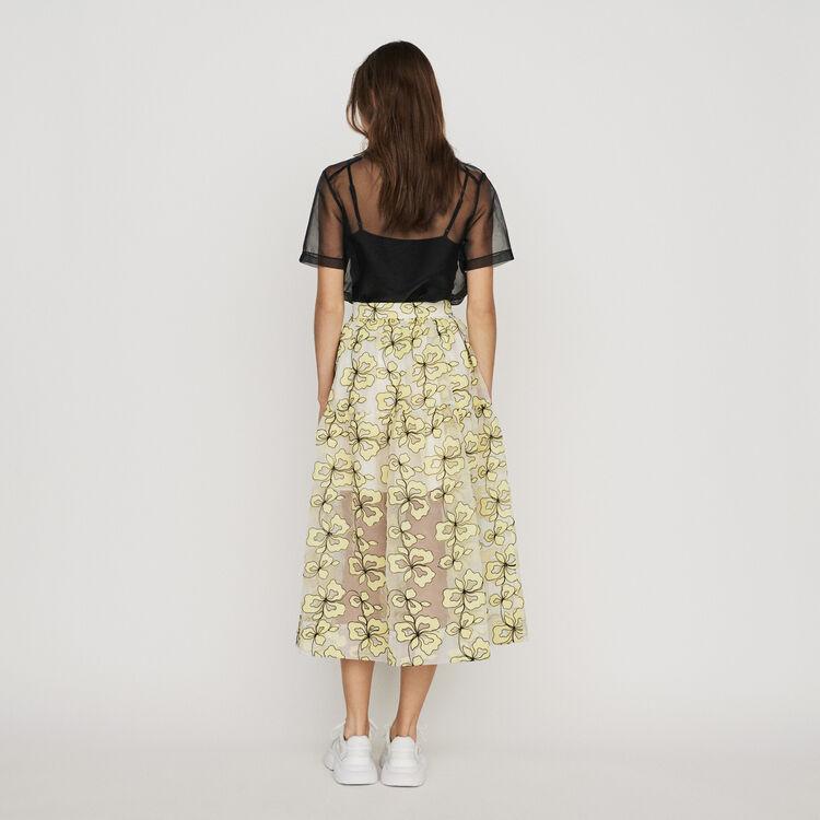 Jupe longue brodée esprit organza : Jupes & Shorts couleur Jaune