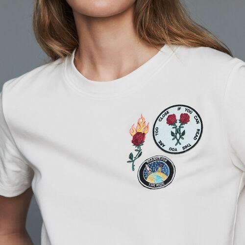 Tee-shirt en coton à patch : T-Shirts couleur Black