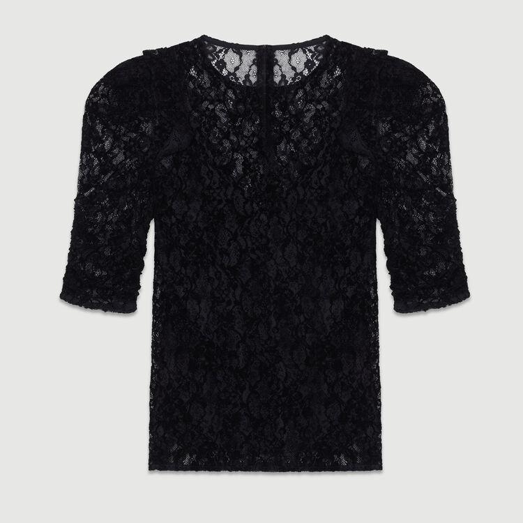 Top en dentelle velours : Tops couleur Black