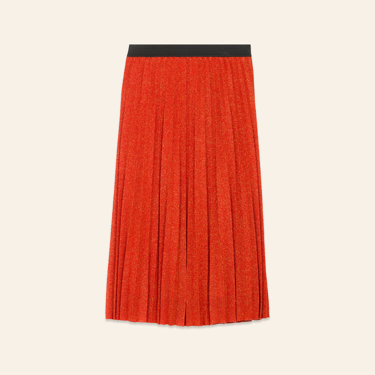 Jupe plissée en maille Lurex : Jupes & Shorts couleur Orange