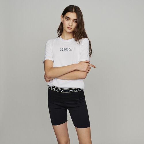Short façon boxeur avec inscriptions : Jupes & Shorts couleur Black