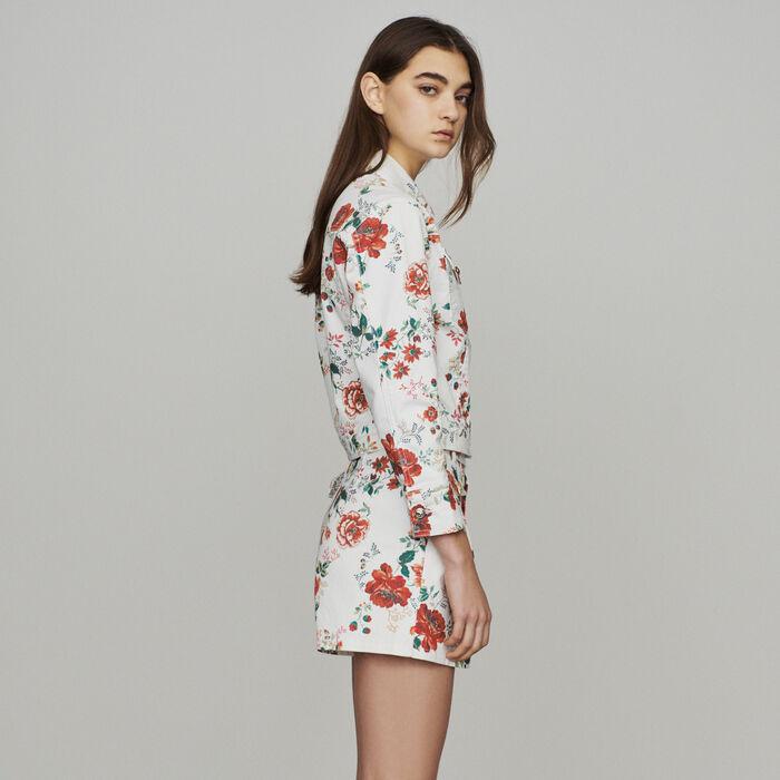 Blouson en jean à imprimé floral : Vestes couleur IMPRIME
