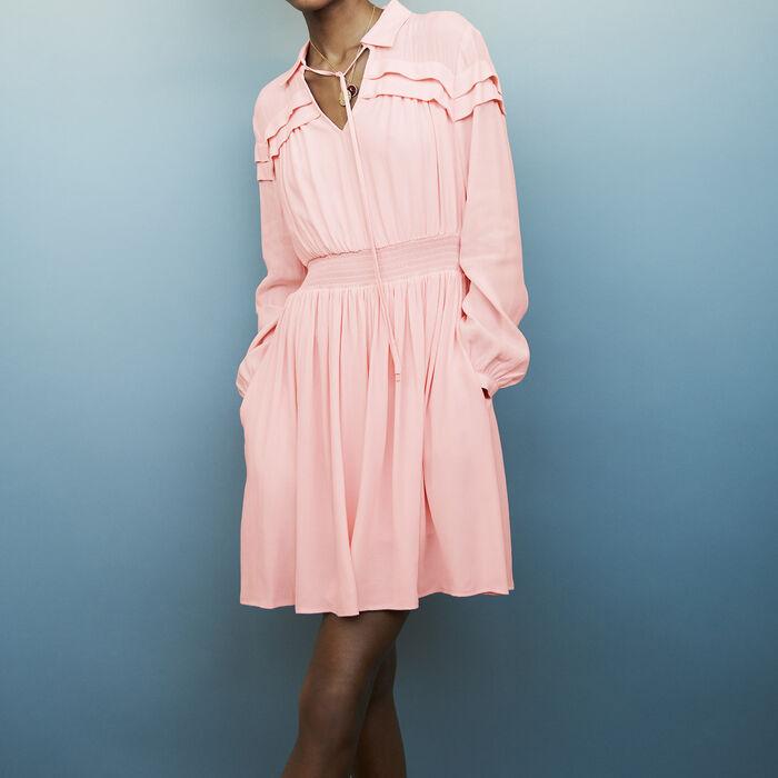 Robe courte en crêpe avec volants : Robes couleur LILA