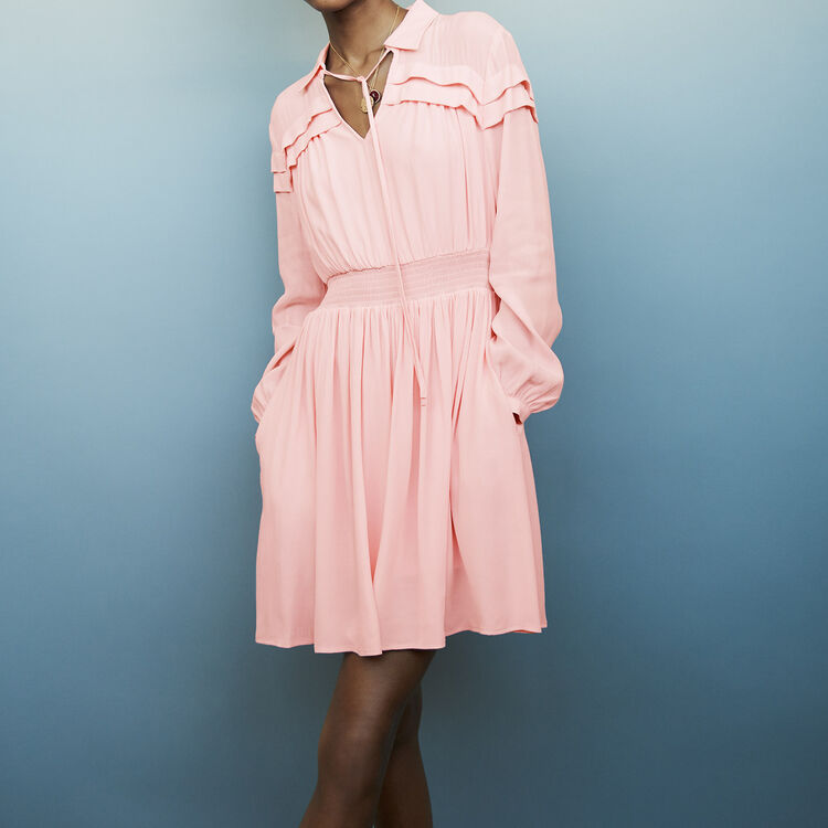 Robe col chemise à nouer : Robes couleur LILA