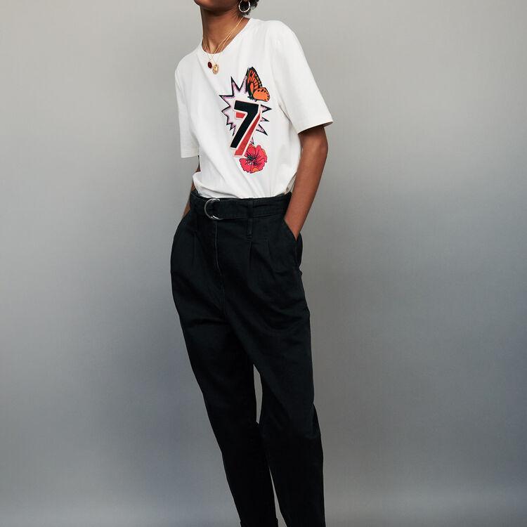 T-shirt broderie 77 : T-Shirts couleur ECRU