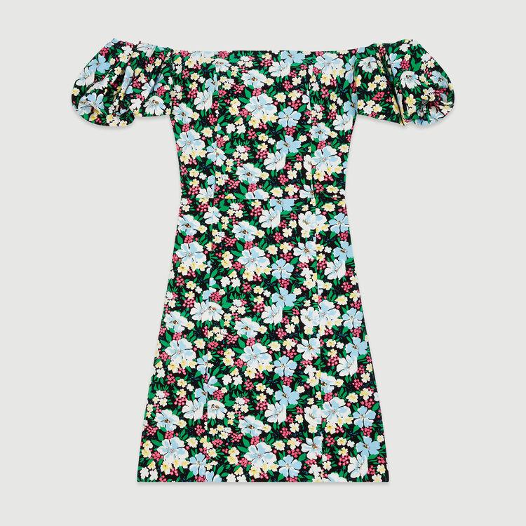 Robe bustier imprimée à épaules dénudées : Robes couleur Imprime