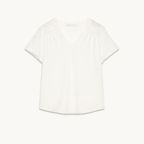Tee-shirt en coton avec détails - null - MAJE