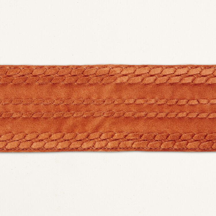 Ceinture large à nouer en daim : Accessoires couleur CAMEL