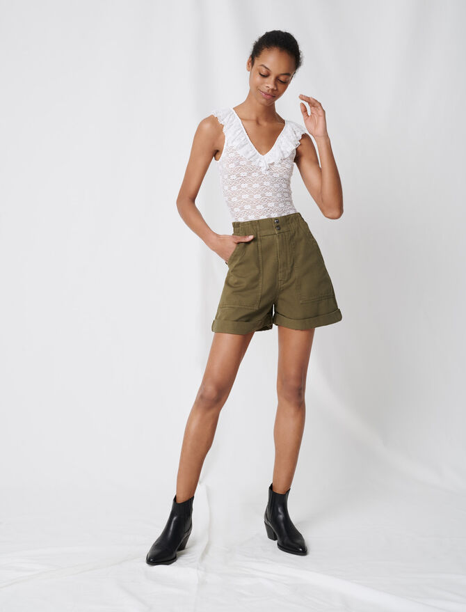 Short kaki en toile de coton - Jupes & Shorts - MAJE