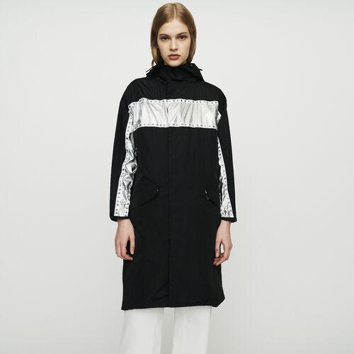 Parka longue avec bandes incrustées : Manteaux & Blousons couleur Black