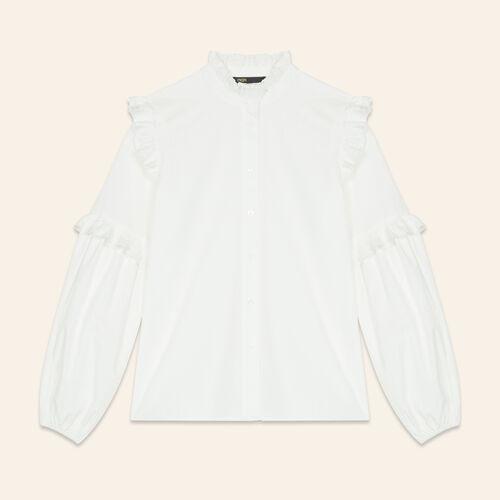 Chemise en popeline avec volants - Chemises - MAJE