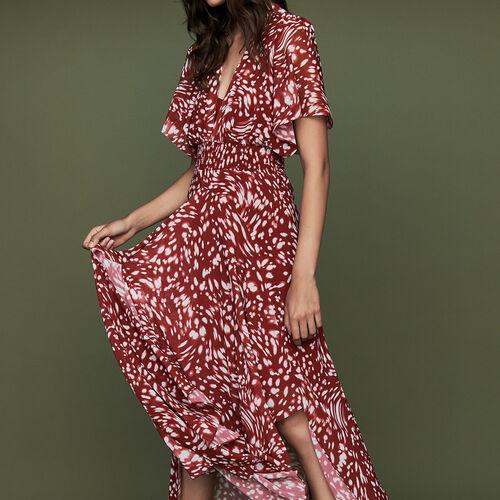 Robe longue asymétrique à imprimé : Robes couleur IMPRIME