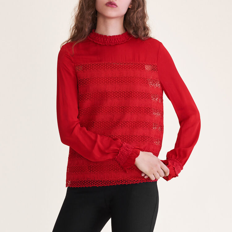 Top brodé : Tops couleur Rouge