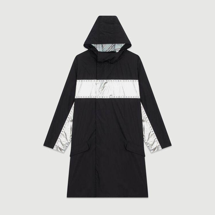 Parka longue avec bandes incrustées : Manteaux couleur Black
