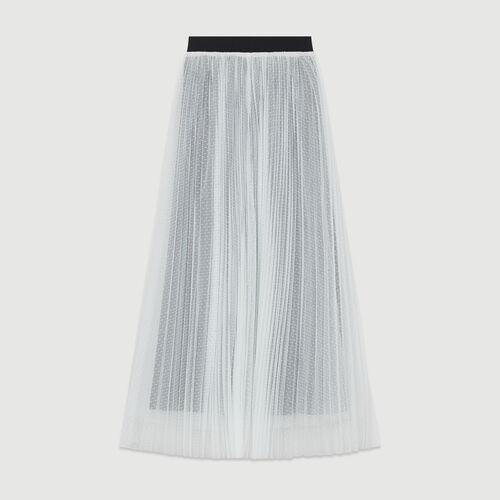 Jupon plissé en tulle plumetis : Jupes & Shorts couleur ECRU