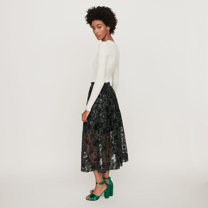 Jupe en tulle brodé de sequins : Jupes & Shorts couleur Noir