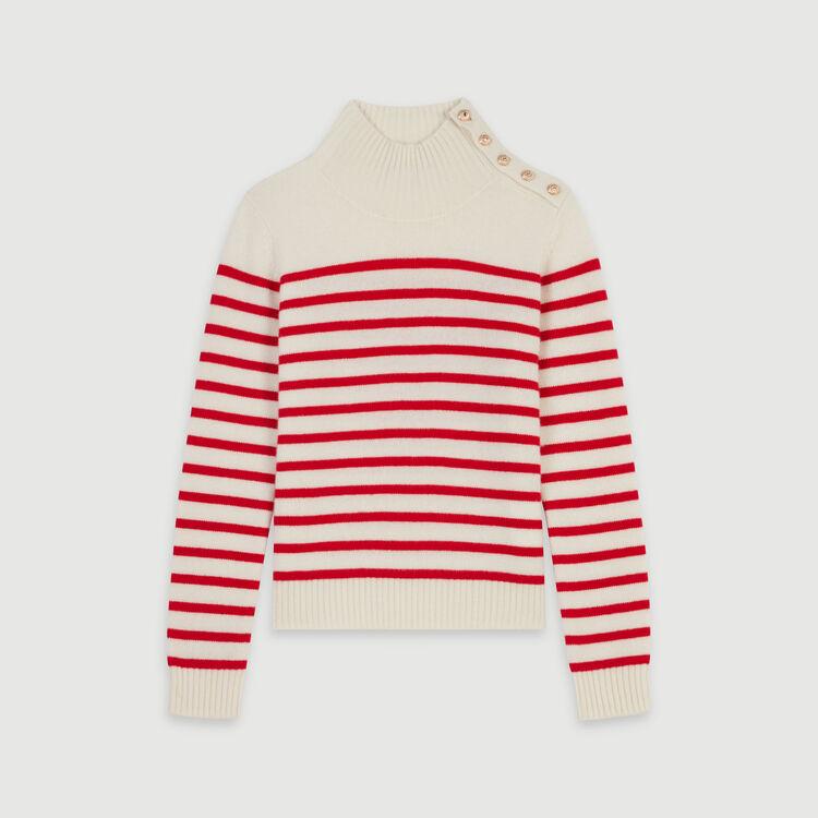 Pull façon marinière en cachemire : Collection hiver couleur ECRU