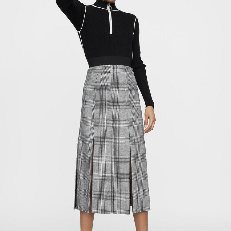 Jupe longue avec découpes : Jupes & Shorts couleur CARREAUX