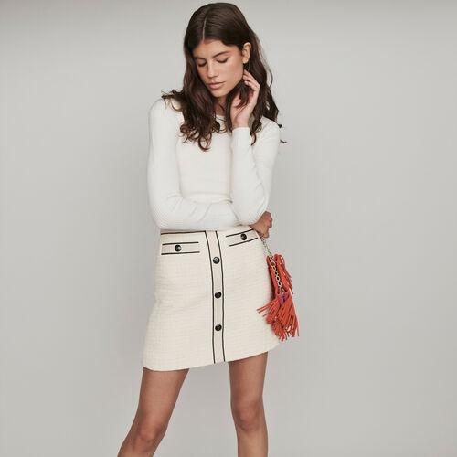 Jupe droite contrastée façon tweed : Jupes & Shorts couleur ECRU