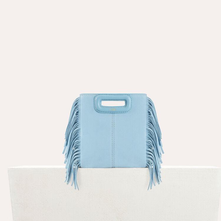 Sac M Mini en suède avec franges : Sacs M couleur Bleu Ciel
