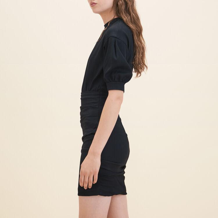 Robe drapée bimatière : Robes couleur BLACK