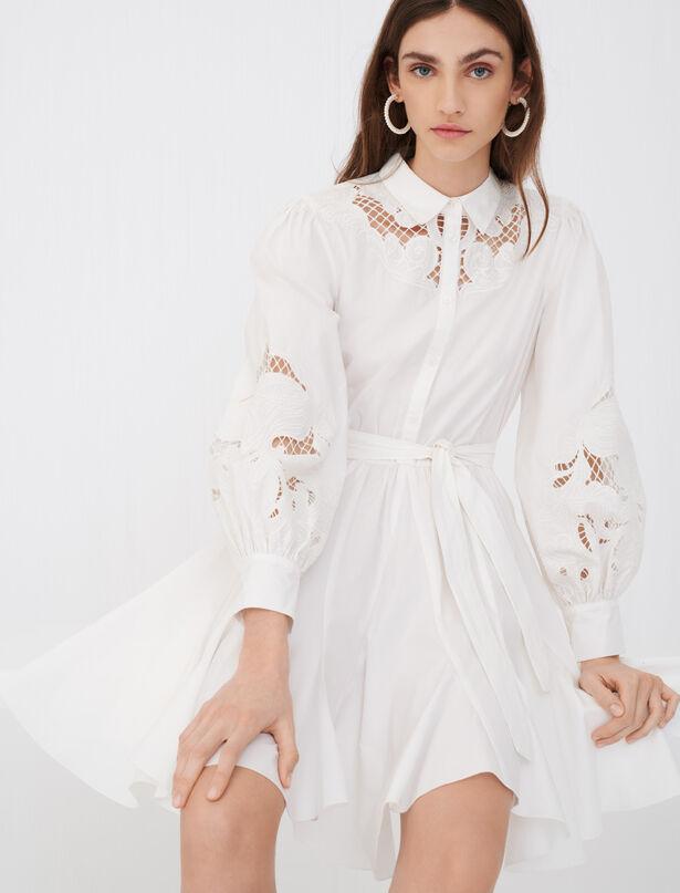 21SS 마쥬 기퓌르 레이스 셔츠 원피스 ('오마이걸' 아린 착용) MAJE 221rebello Robe patineuse en coton et guipures,Blanc