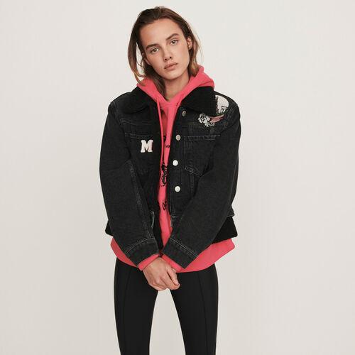 Blouson en jean à patchs brodés : Manteaux & Blousons couleur Noir