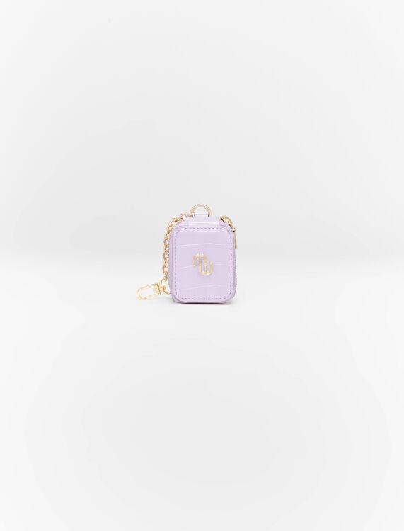 Pochette pour écouteurs en cuir embossé - Petite maroquinerie - MAJE