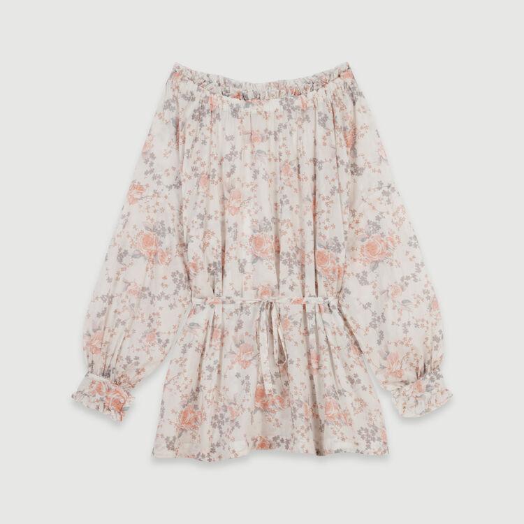 Robe smockée en voile de coton imprimé : Robes couleur Rose