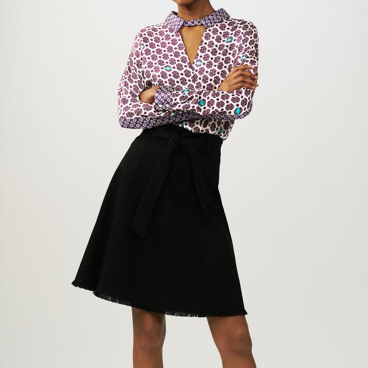 Jupe fluide avec ceinture : Jupes & Shorts couleur Black