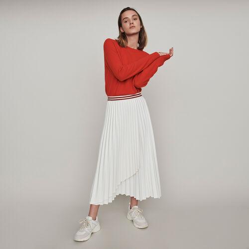 Jupe plissée à bandes contrastées : Jupes & Shorts couleur ECRU