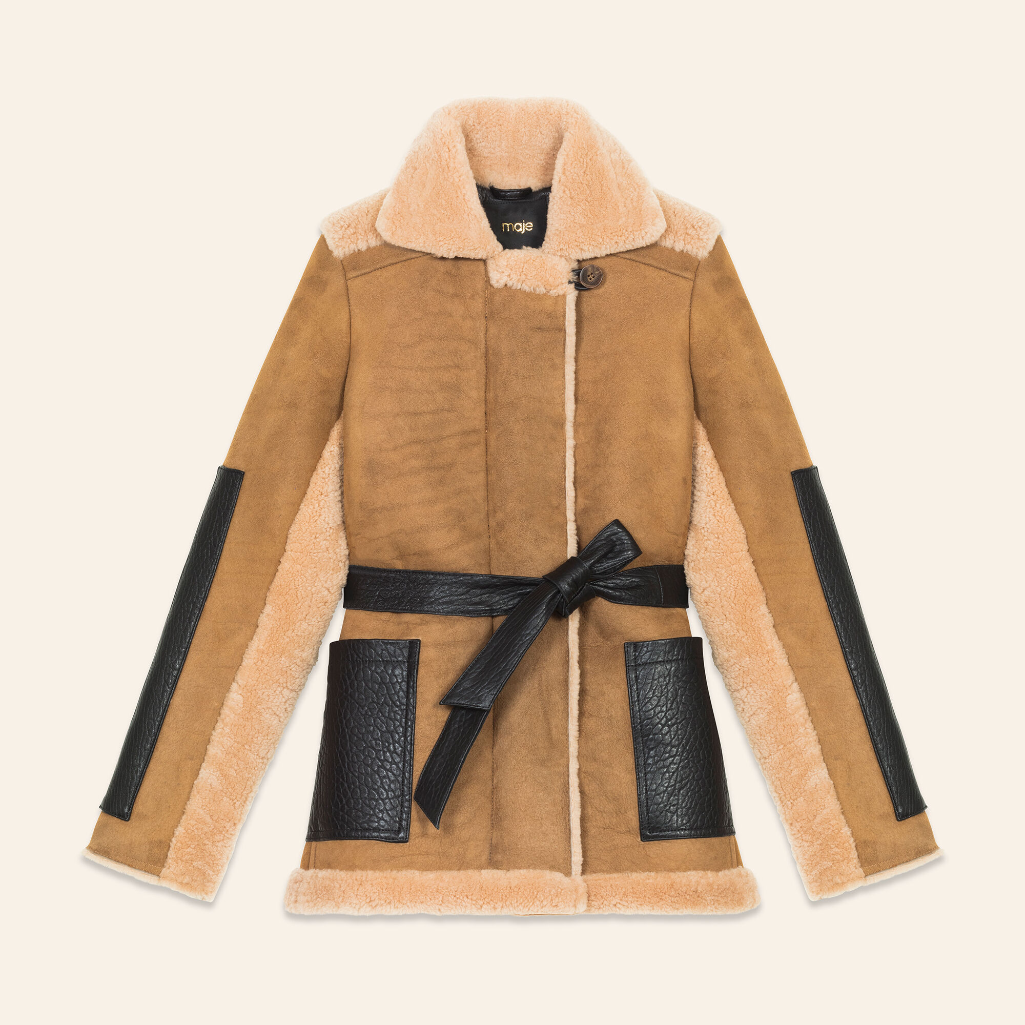 manteau cuir retourné maje