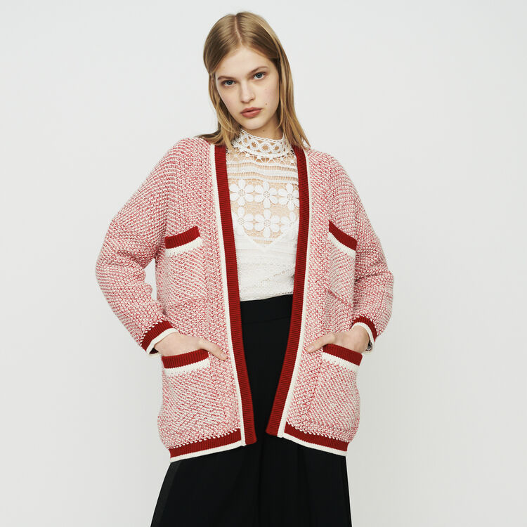 Cardigan mi-long en maille bicolore : Maille couleur Rouge