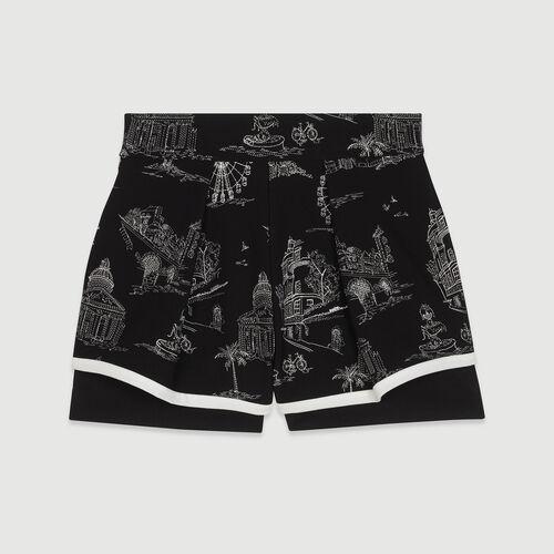 Short en crêpe brodé : Jupes & Shorts couleur Black