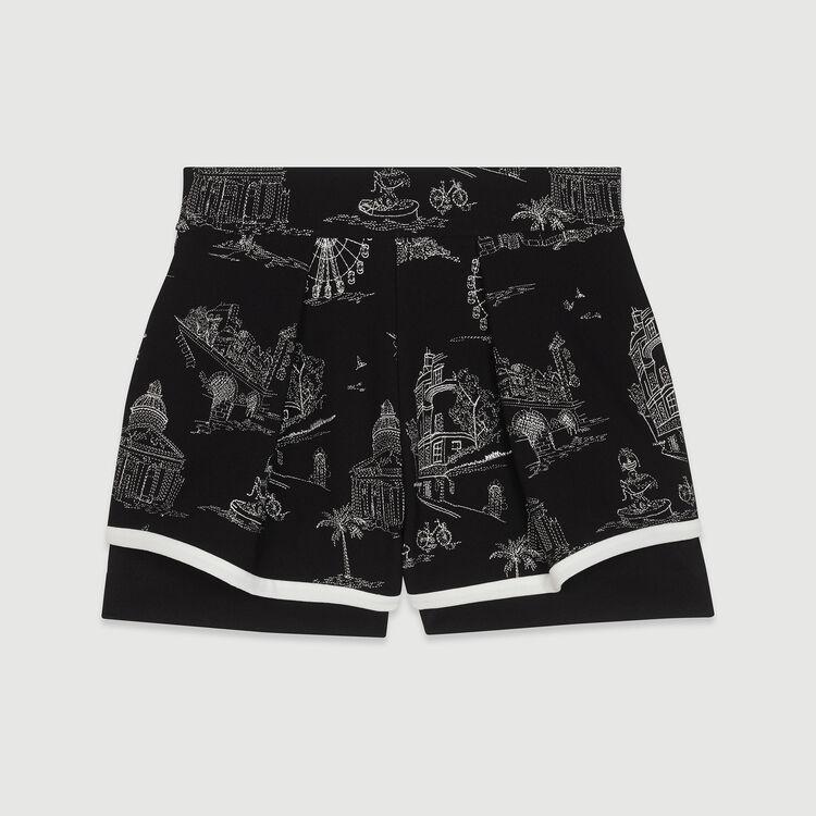 Short en crêpe brodé : New in : Collection Été couleur Black