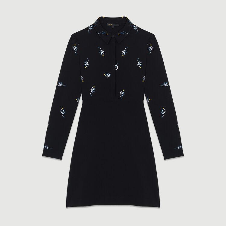 Robe-chemise en coton avec broderies : Robes couleur Black