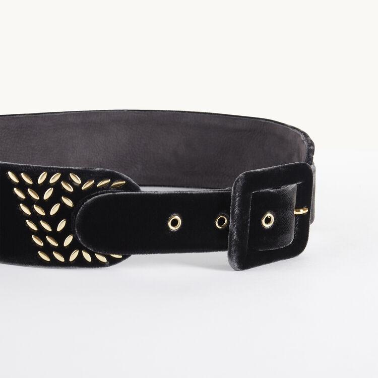 amanda ceinture large en velours avec studs maje paris. Black Bedroom Furniture Sets. Home Design Ideas