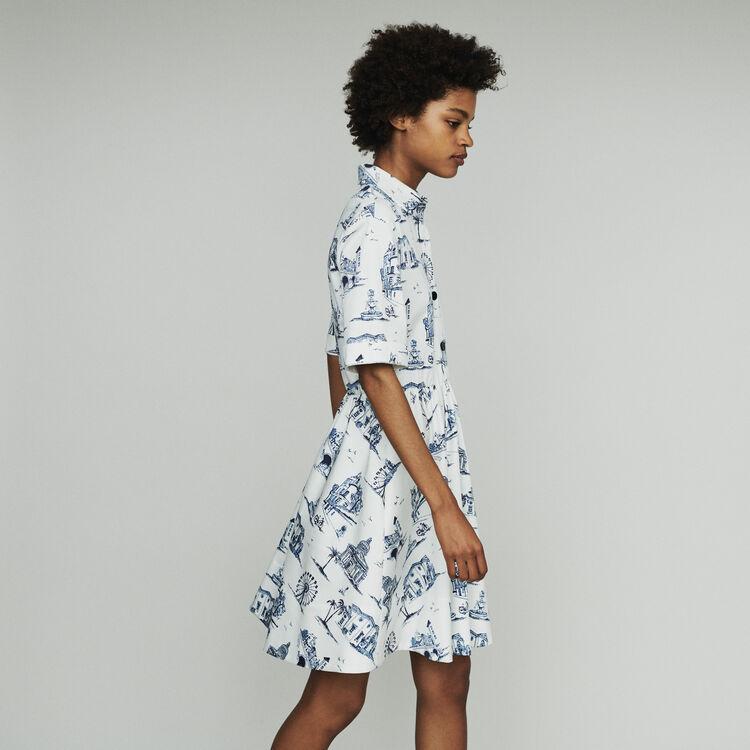 Robe courte à col chemise imprimé Paris : Robes couleur ECRU