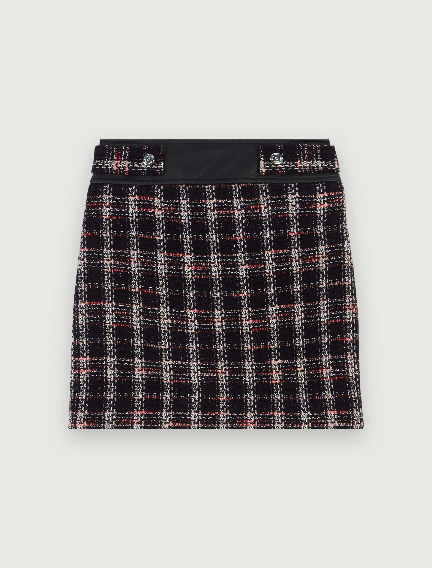 119JISIDO Jupe droite contrastée façon tweed