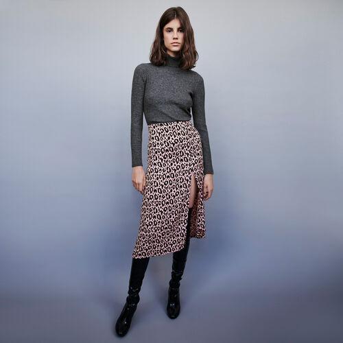 Jupe fendue en jacquard imprimé : Jupes & Shorts couleur Rose