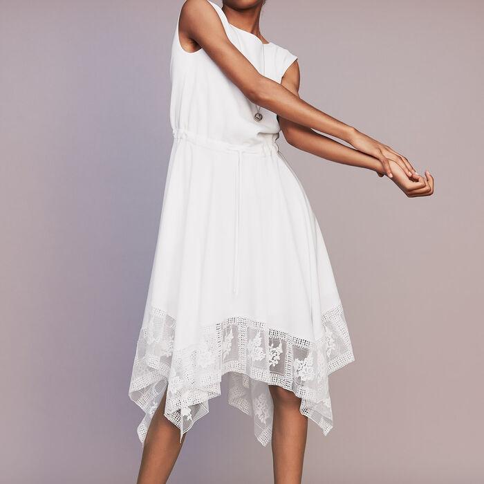 Robe longue sans manches avec dentelle : Robes couleur Blanc