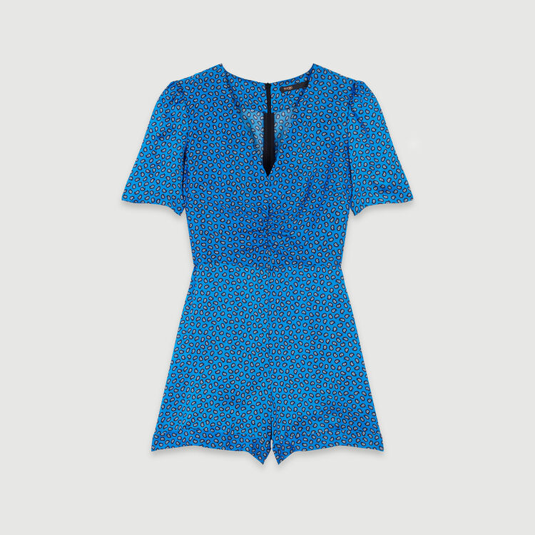 Combinaison-short en satin imprimé : Collection hiver couleur Bleu
