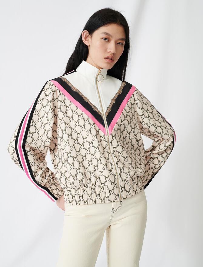 Sweat-shirt zippé à monogramme all-over -  - MAJE